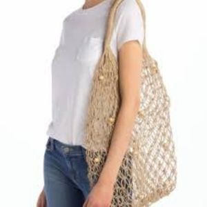 Pink Haley Fishnet Shopping Tote with Wood…